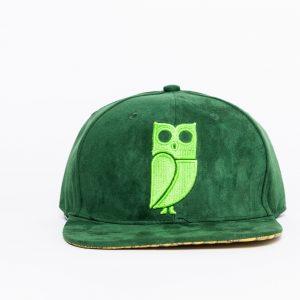 Groen suede snapback cap. Uil. Caps kopen. Pet kopen. Beste kwaliteit. Veryus