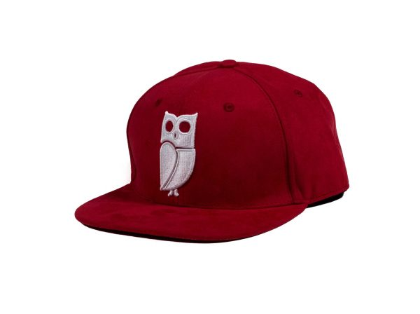 Rode Suede Uil Snapback Cap