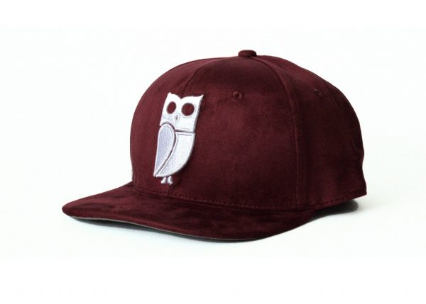 Rode burgundy bordeaux snapback cap veryus suede kwaliteit uil owl eule