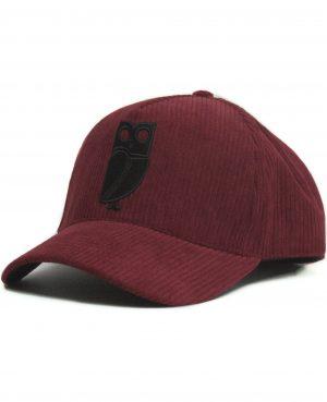 Bordeaux Rode Corduroy Uil Baseball Cap